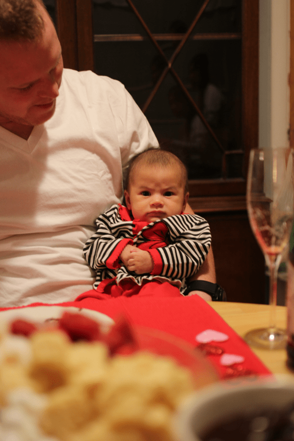Baby 3 Fondue with Family on Valentines