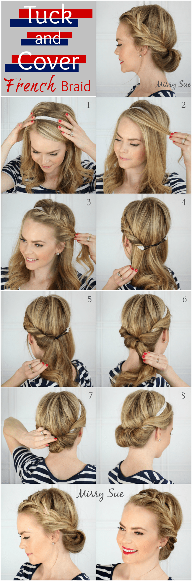 tuck and cover french braid missy sue blog hair tutorial Braid 7 Tuck and Cover French Braid