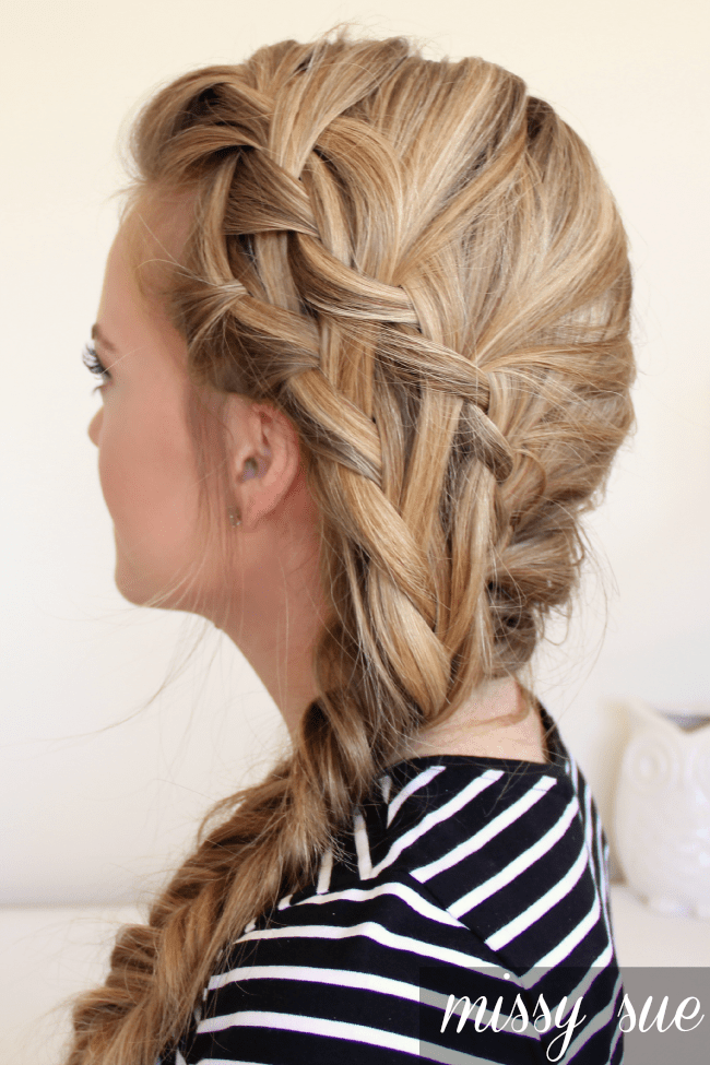 Double waterfall braid and fishtail side braid for Fish tails braid