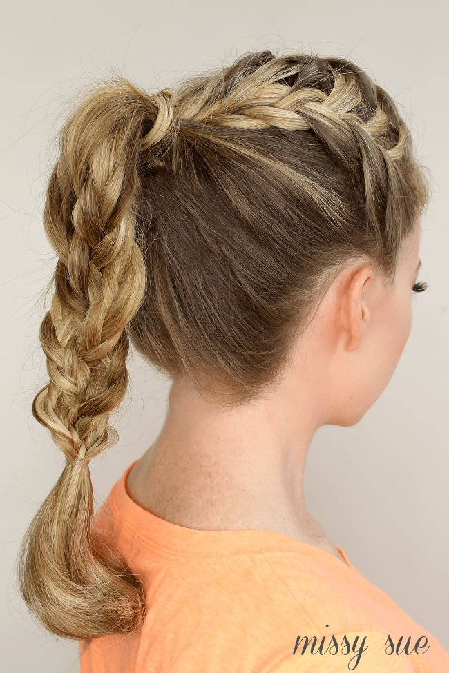 triple french braid double waterfall braided ponytail missy sue blog Triple French Braid Double Waterfall Ponytail