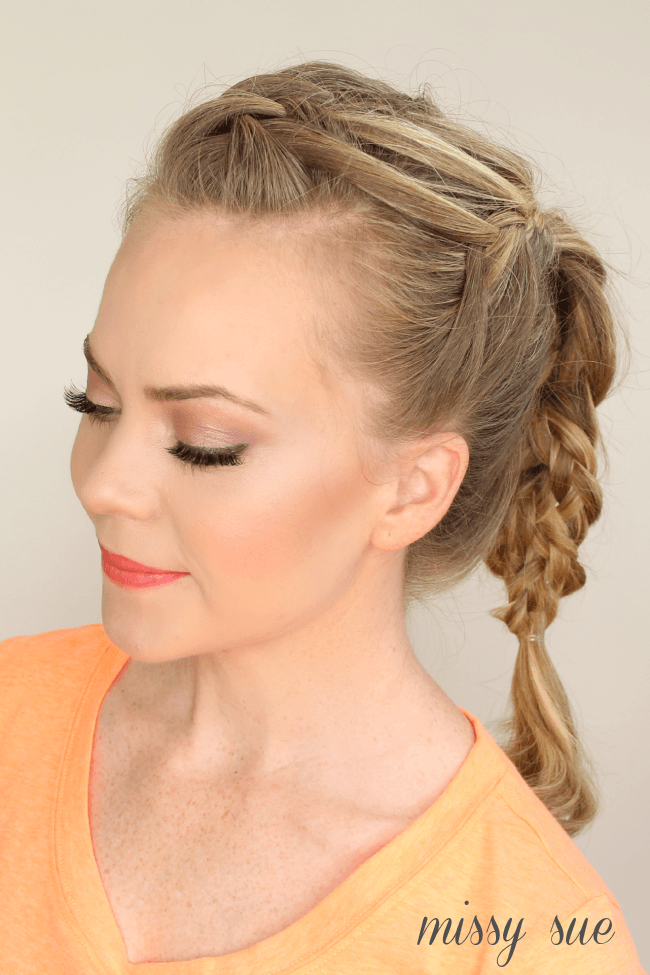 triple french braid double waterfall braided ponytail missy.sue  Triple French Braid Double Waterfall Ponytail