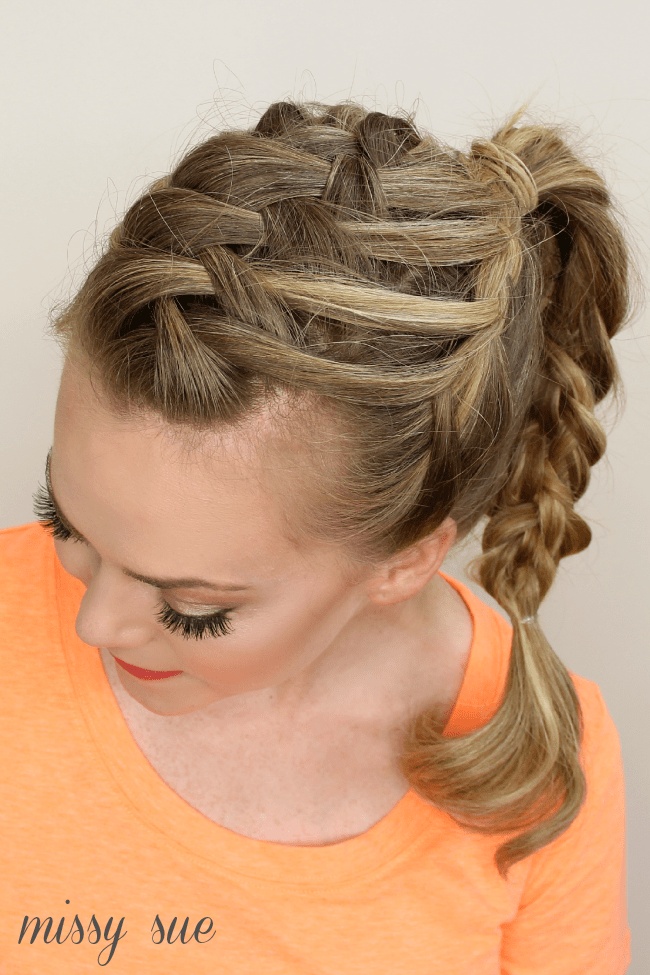 triple french braid double waterfall ponytail missy sue blog Triple French Braid Double Waterfall Ponytail