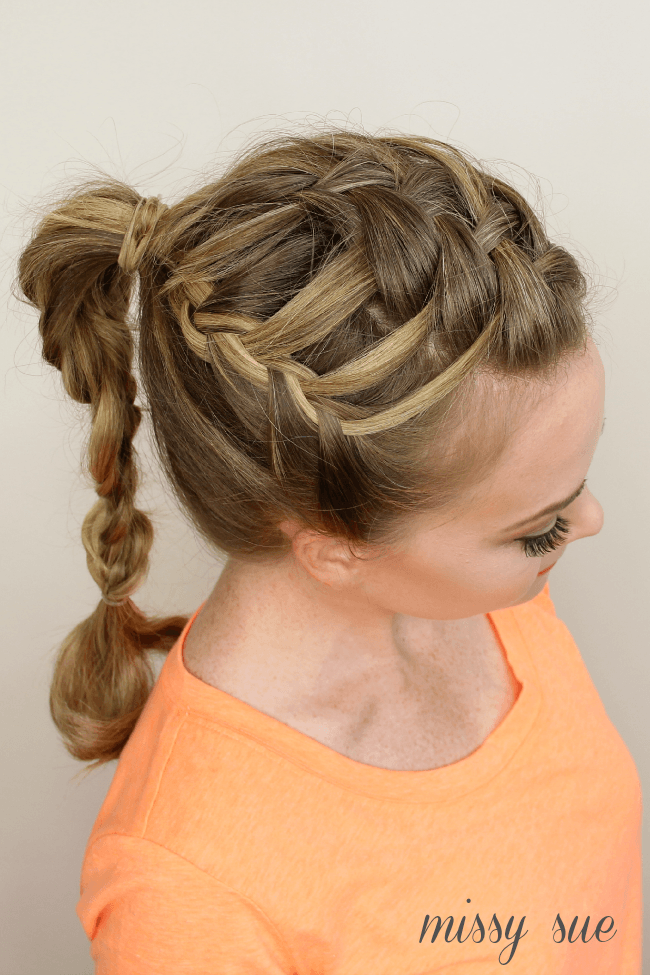 triple french braid double waterfall ponytail missysue Triple French Braid Double Waterfall Ponytail