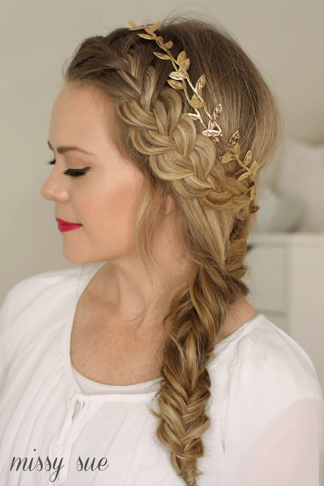 fishtail hairstyle : French Braid and Side Fishtail Braid