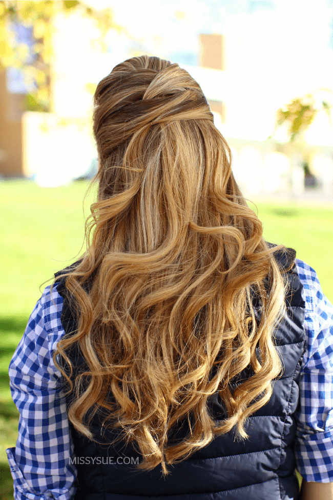 criss cross half updo missysue blog Gingham and Boots