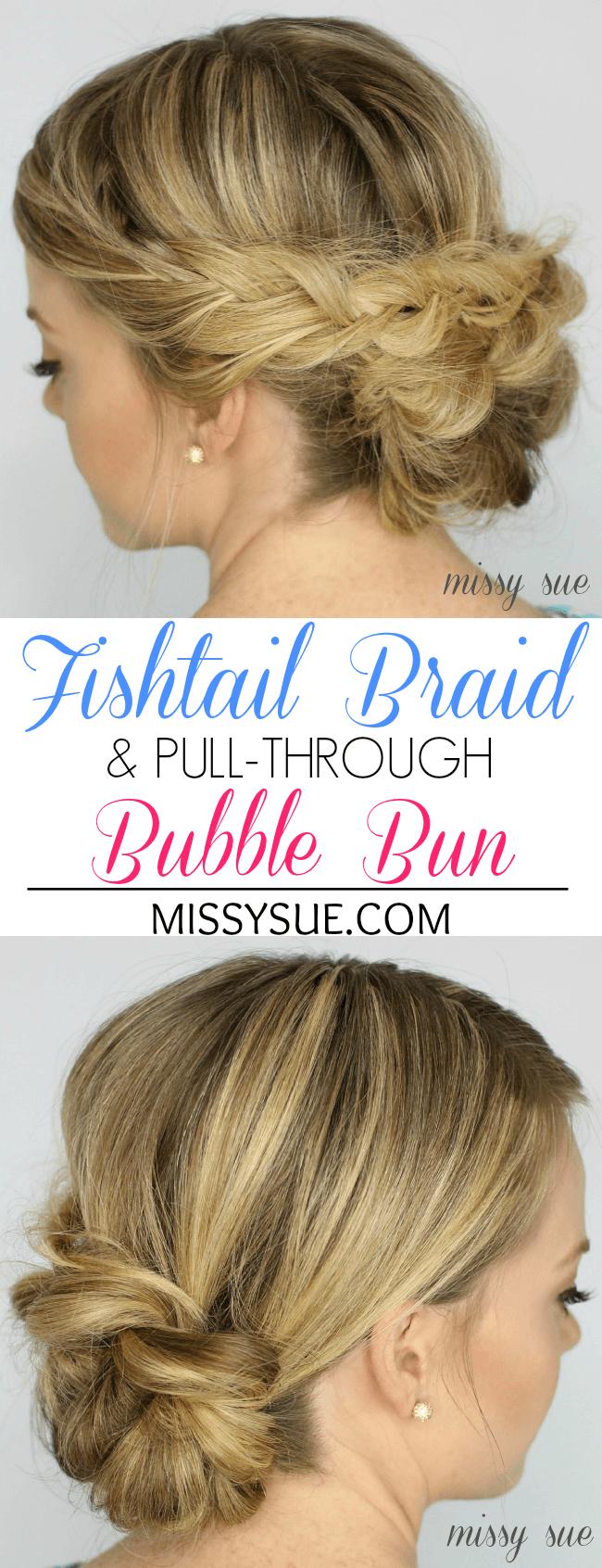 fishtail braid and pull through bubble bun missy sue tutorial Fishtail Braid and Pull Through Bubble Bun