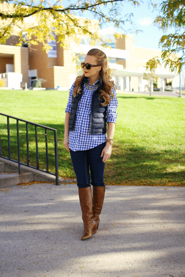 gingham button up brown wedge boots missy sue Gingham and Boots