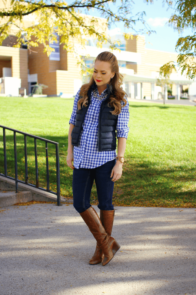 gingham shirt wedge boots missy sue blog.2 Gingham and Boots