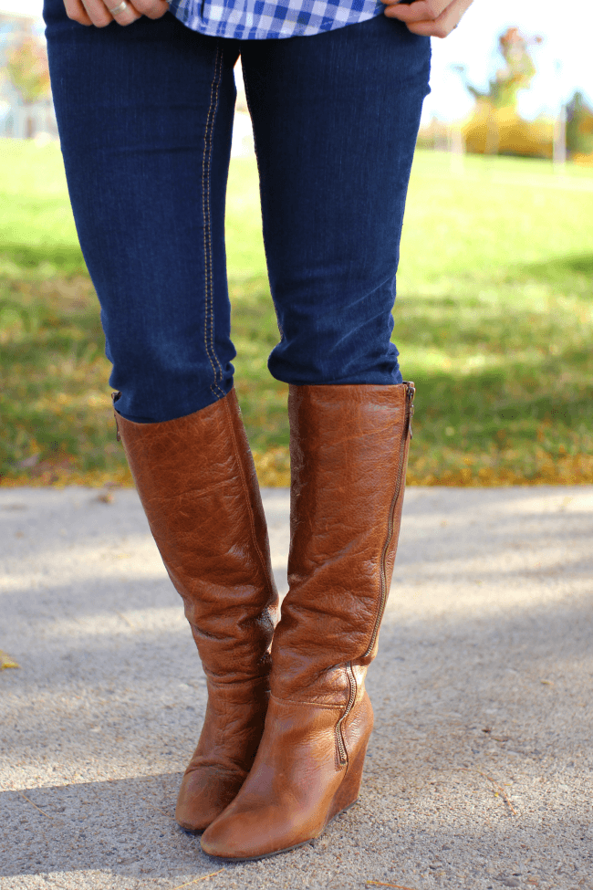 steve madden wedge boots Gingham and Boots