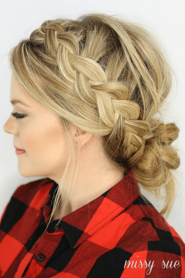 Dutch braids and low messy bun steps
