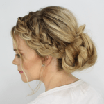 Waterfall French Braid Messy Bun